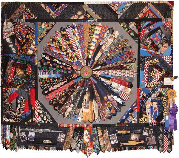 """""""Tied Memories"""" by Larry Godinez  86"""" X 104"""".  This memory quilt is made with over 80 novelty ties."""