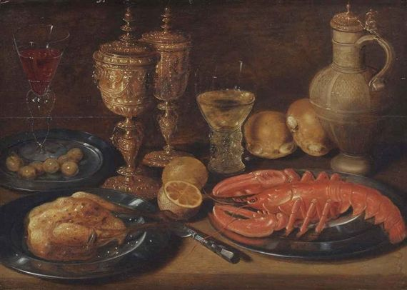 Artwork by Clara Peeters, A roasted chicken, lobster, olives, lemons, bread, goblets and a caraffe, all on a wooden ledge, Made of oil on panel