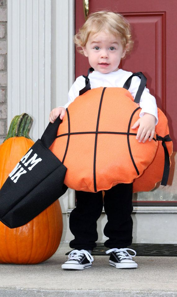 This basketball costume is handmade with felt material with adjustable tie straps. And come with a Slam Dunk treat bag. The costumes are made