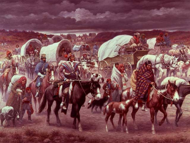 Cherokee Indian - Trail of tears...Georgia to Oklahoma where many died along the way. I am of Cherokee heritage and I live on land that I own in north Georgia once inhabited by a Cherokee village or hunting camp. I take great pride  my Cherokee heritage.