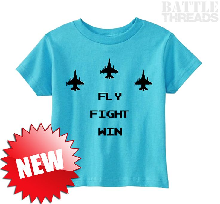 """3/25/17 - We couldn't wait until tomorrow to share this! Announcing our brand new, toddler t-shirt: """"Fly, Fight, Win"""", with retro arcade-style lettering! Get one for your little flier at www.battle-threads.com"""