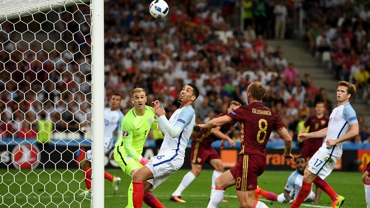 Vasili Berezutski (C Back) of Russia scores their first goal during their UEFA EURO 2016 Group B match against England