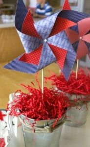 Double Patriotic Pinwheel Centerpiece -I already have s template to make these and I have the buckets from your showers!