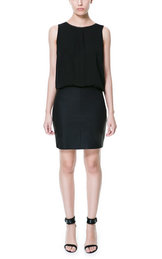 Image 1 of COMBINED DRESS WITH FAUX LEATHER SKIRT from Zara
