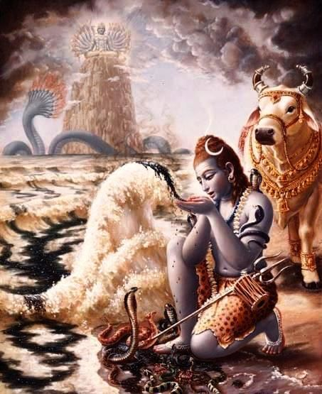 the Final Destiny of our planet and this is what we call Tandav, the Final Dance of Shiva. As each atom is created, another is destroyed and this continues forever in a cyclical manner. Lord Shiv who drinks the terrible poison Halahal to save all Life, also destroys Life-as-we-know-it in the form of Rudra. Shiva drinks poison to save Life yet also annihilates at the End of Time.