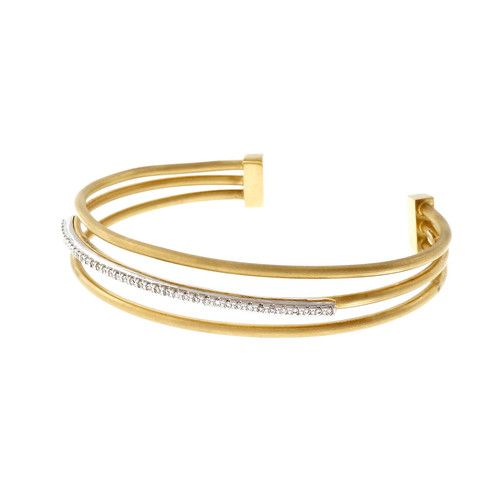 Isaac Reiss Designer Slip On Bangle Bracelet 3 Row Diamond 14k Yellow Gold