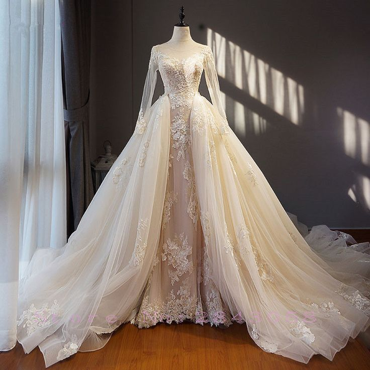 Details about New Champagne Detachable Train Mermaid Wedding Dress Appliques Tulle Bridal Gown
