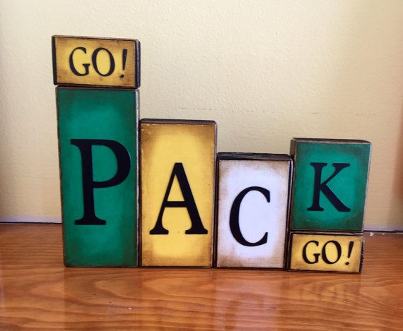 Packers Word Blocks Green Bay Wooden Block by GuidingPrintables