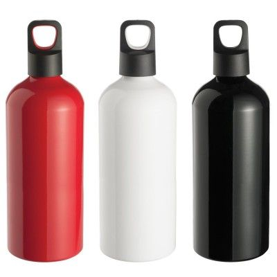 Aluminium Drink Bottle. Featuring a PP screw top cap this bottle is BPA approved and available in 3 colours: White, Black, Red. Material: Aluminium Product Size: 215mm(h) x 73mm Ø Decoration: Pad Print, Engrave Decoration Area: Pad: 35mm(h) x 30mm(w). Laser: 30mm x 30mm. (4193_NOTT)