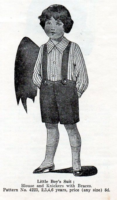 "Madame Weigel's 4223; ca. 1910s; Little boy's suit; blouse and knickers with braces. Add a photo to the gallery by clicking the ""modify"" button below."
