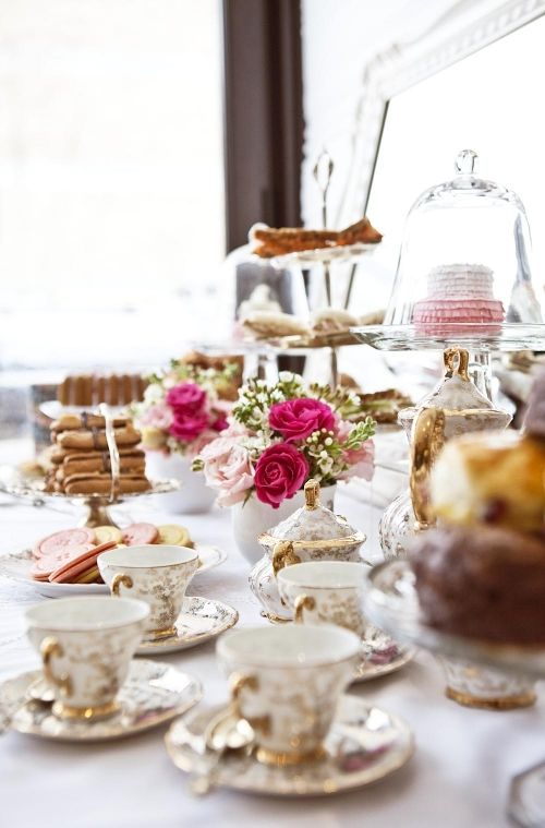 English tea party reception table setting.  Closest thing to a Kate Middleton themed party I can think of :)