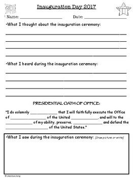 This is a 1-page writing reflection to be used after watching the Presidential Inauguration (either on live TV or recorded). Students reflect on what they thought, heard, and saw. There is a fill-in-the-blank for the Presidential Oath of Office as well.