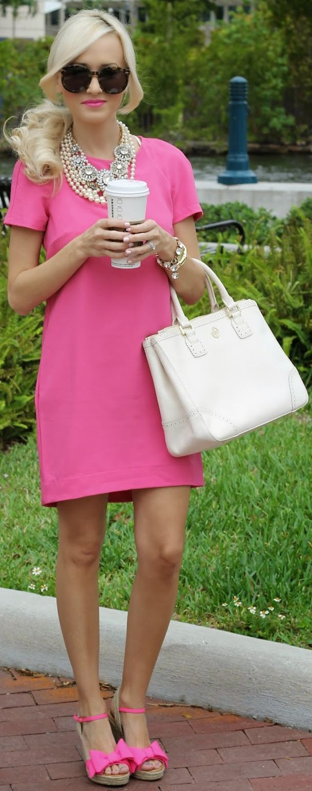 Kate Spade Oversized Bowed Toe Pink Wedge Sandals, Nordstrom dress, Tory Burch bag, JCrew necklace