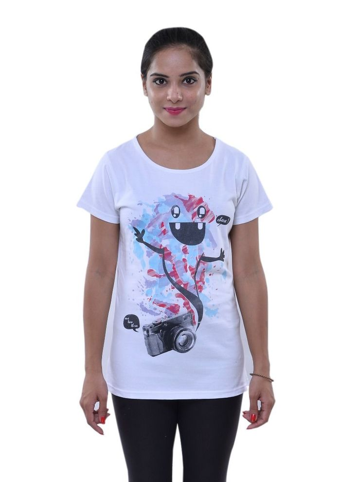Buy Oneliner Women's White T-Shirt of Printed Cheese One Two three Stylised  , this graphic print tee brings the carefree attitude alive.