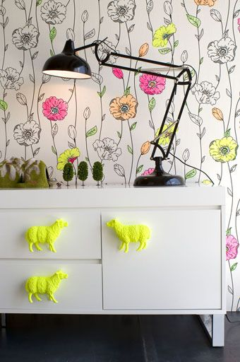 Bright and cheerful wallpaper, plus DIY handles!