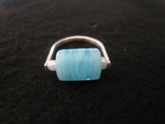 Sterling Silver and Blue Bead Ring.  Handcrafted Jewelry by ZaZing, $45.00