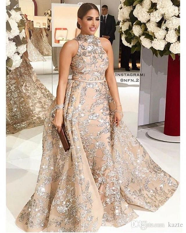 Sequined Appliques Mermaid Overskirt Evening Dresses 2018 Yousef Aljasmi  Dubai Arabic High Neck Plus Size Occasion Prom Party Dress 4212bac28fa2