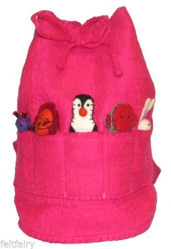 GORGEOUS FELT RUCKSACK BAG WITH 5 FINGER PUPPETS FREE POSTAGE