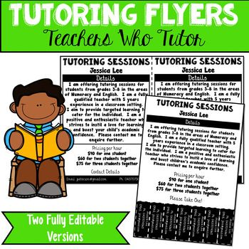Get your tutoring business started with these fully editable flyers. The first is perfect for handing out to schools and parents, the second can be pinned up for parents to take a copy of your contact information. PDF versions have also been included to help you with fonts and pairing.