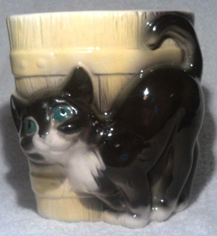 Vintage Royal Copley Pottery Planter Black Kitty Cat Yellow Barrel Green Eyes