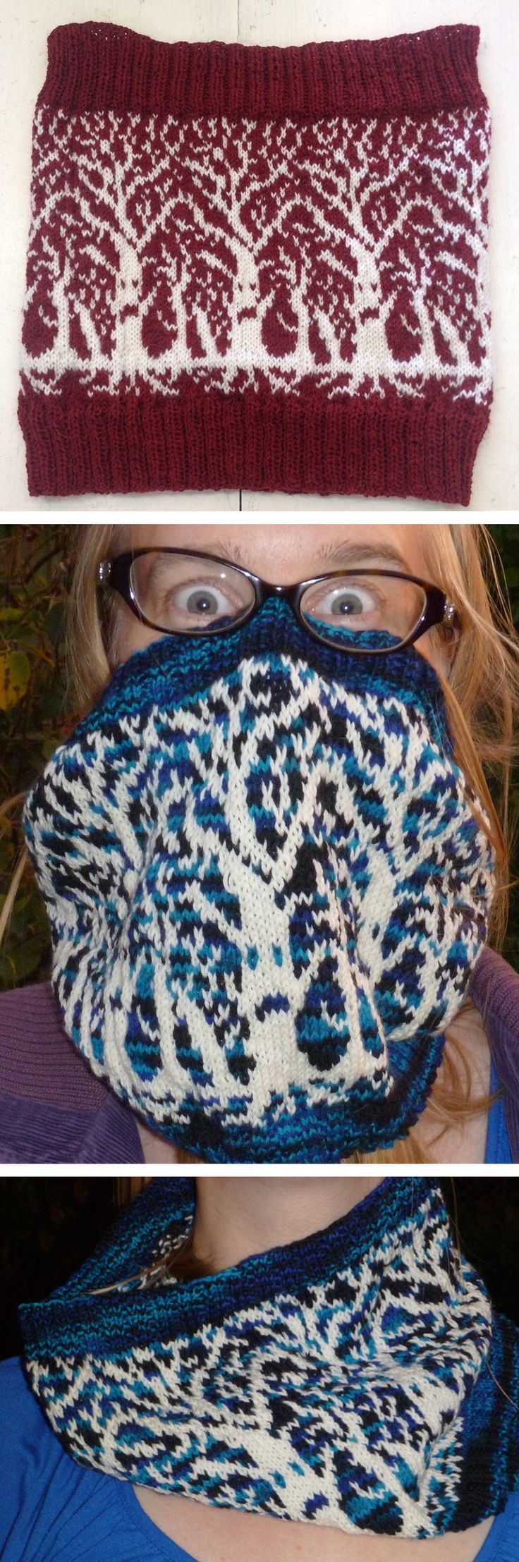 Free Knitting Pattern for Weirwood Cowl inspired by Game of Thrones - A stranded cowl picturing the Weirwood trees from A Song of Ice and Fire and Game of Thrones. Designed by Andrea Krüß-Anders. I like the way it looks just like a pretty graphic pattern when draped around the neck. Available in English and German. Pictured projects by JennyLee1011 and ajtho1