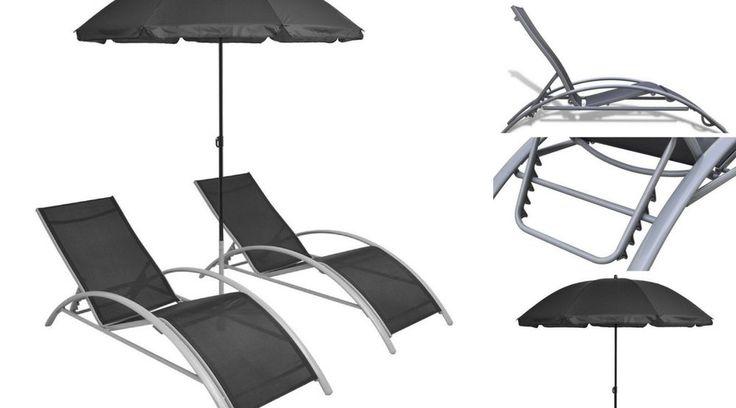 Outdoor Furniture Set Recliner Sun Loungers Chairs Garden Pool Parasol Umbrella