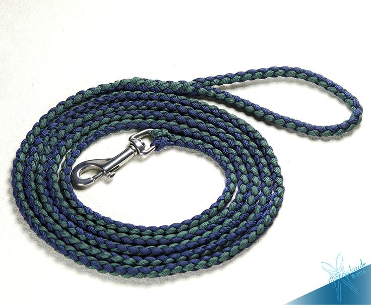 6 1/2 ft - Standard Paracord Dog leash - 4 strands - Stainless steel - Heavy Duty - Midnight blue and Dark Green