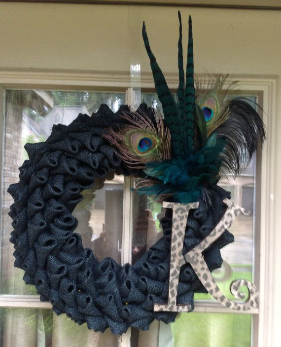 Black Burlap wreath with leopard initial and feathers Spring Wreath Summer Wreat Fall Wreath $65.00