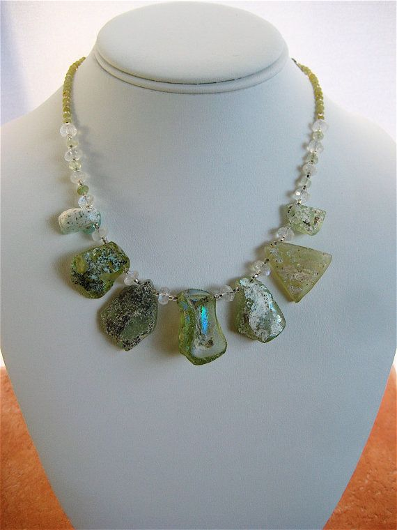 Ancient Glass Shard Necklace 2 Large Rainbow Glass Beads Pale Green Thousand Year Old with Moonstones Rustic Bridal Jewelry