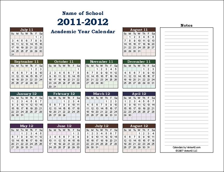 Download the Academic Calendar Collection from Vertex42.com
