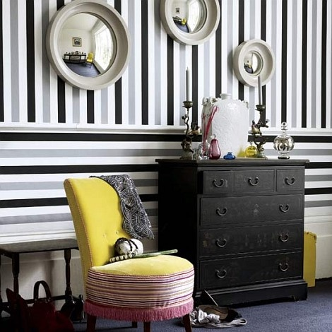 CleverWall Decor, Ideas, Stripes Wallpapers, Hallways, Chairs, Black And White, Interiors, Black White, Striped Walls