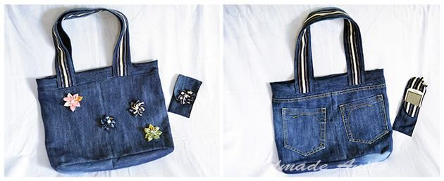 denim bag with etui for cell phone