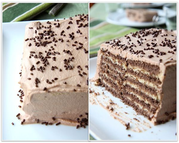 Chocolate Peanut Butter No-Bake Cake: 2 cups heavy cream, divided 1/2 cup peanut butter chips 1/2 cup milk chocolate chips 12 whole chocolate graham crackers optional garnish: chocolate jimmies