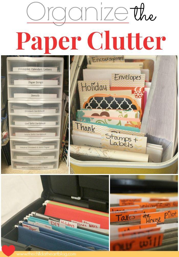 Organize Paper Clutter files, cards, scrapbook paper, magazines, etc.  #organize