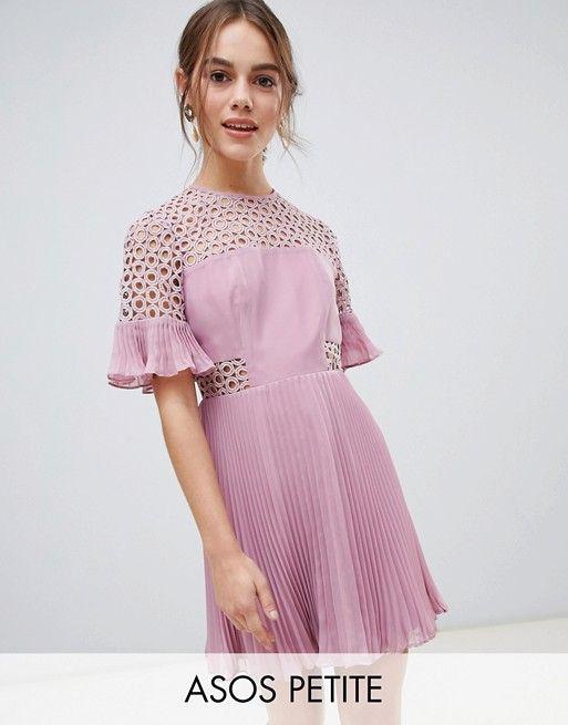 DESIGN Petite lace insert pleated mini dress  2670d2fcc