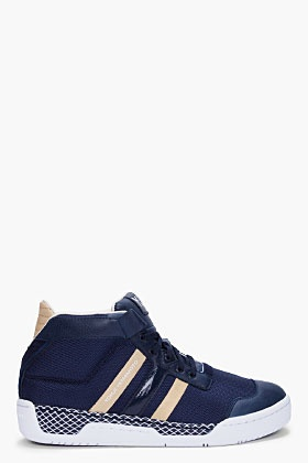 cheap for discount f934a f7018 Y-3 Navy Courtside Sneakers for men SSENSE