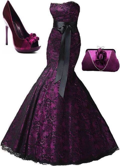 Purple with black lace formal dress