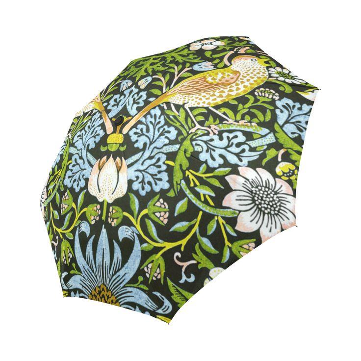 William Morris Strawberry Thief Vintage Floral Auto-Foldable Umbrella