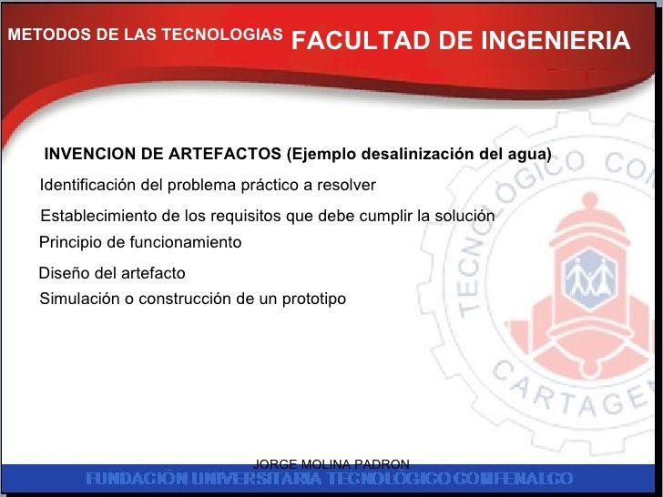FACULTAD DE INGENIERIA INVENCION DE ARTEFACTOS (Ejemplo desalinización del agua) METODOS DE LAS TECNOLOGIAS Identificación...