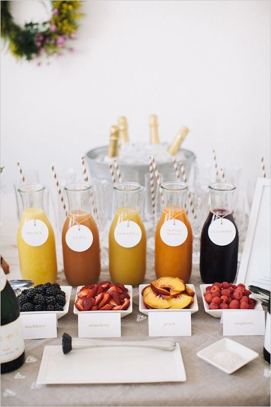 easy mimosa bar http://www.weddingchicks.com/2013/10/17/our-favorite-drink-stations/