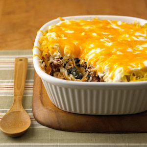 8 layer casserole with hamburger, noodles, sour cream, cream cheese, onions, spinach, cheddar cheese and spices.  YUMMY!