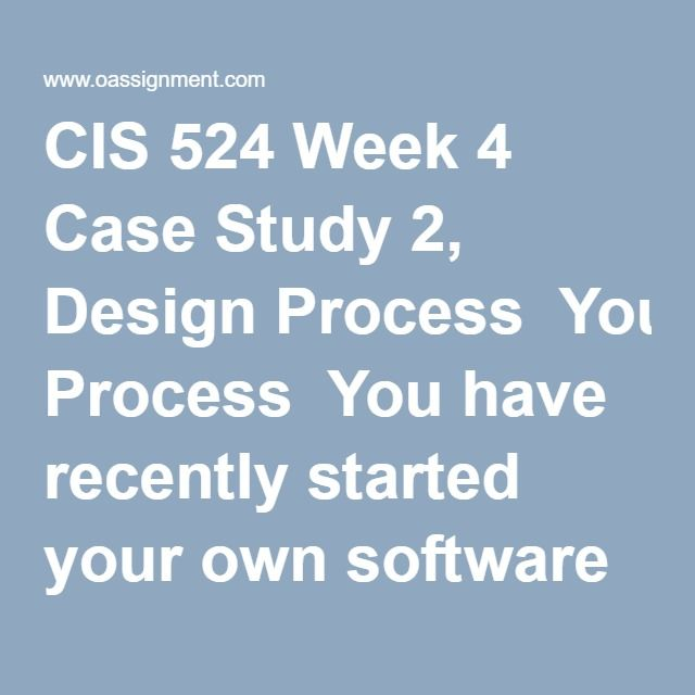 CIS 524 Week 4 Case Study 2, Design Process  You have recently started your own software design company. You discover that your local DMV is looking to build a system that will allow receptionists to check customers in quickly. They would like for the system to allow customers to self-check-in during busy times, but have receptionists check customers in the rest of the time. Your company puts a bid in for the project and wins.  Write a four to five (4-5) page paper in which you: 1. Suggest…