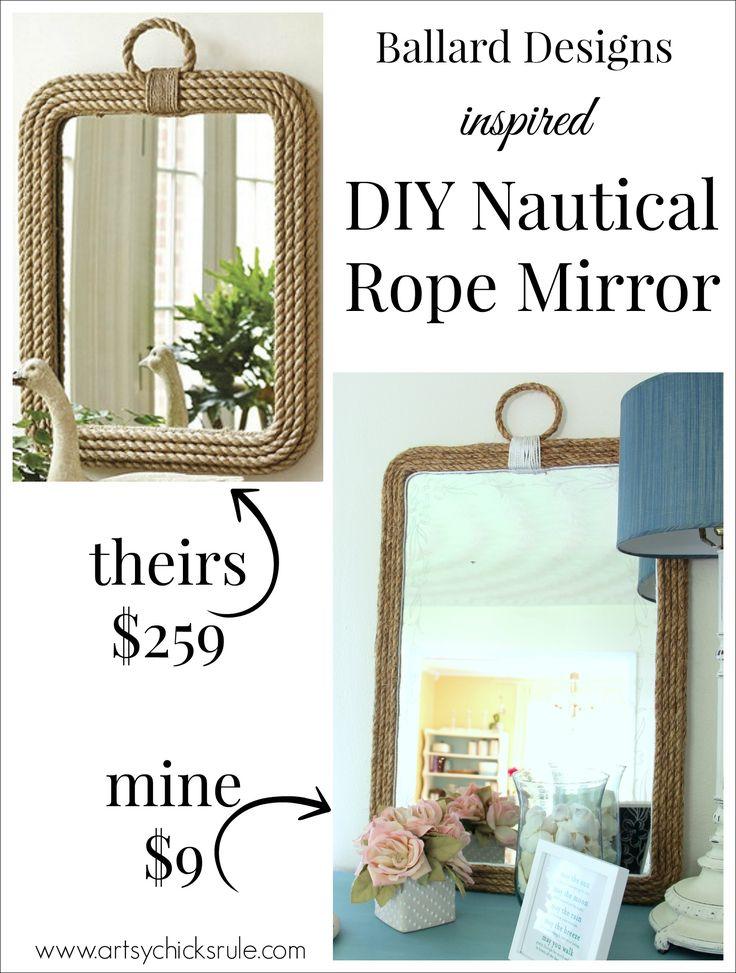 DIY Nautical Rope Mirror - Inspired by Ballard Designs - Hot Glue Rope - #thrifty #inspiredby artsychicksrule