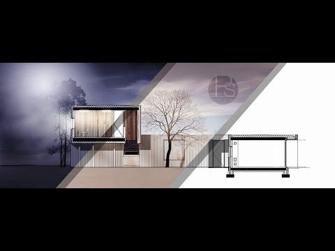 Section architecture rendering by Photoshop _ Midnight scene | ARCH-student.com