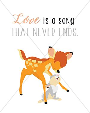 "Disney ""Love is a song that never ends."" Bambi - 8x10 Instant Download Print Frame Wall Decor Printable DIY"