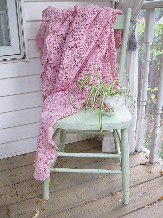 Crochet Pink Bedspread Vintage Crochet Pink Afghan Blanket