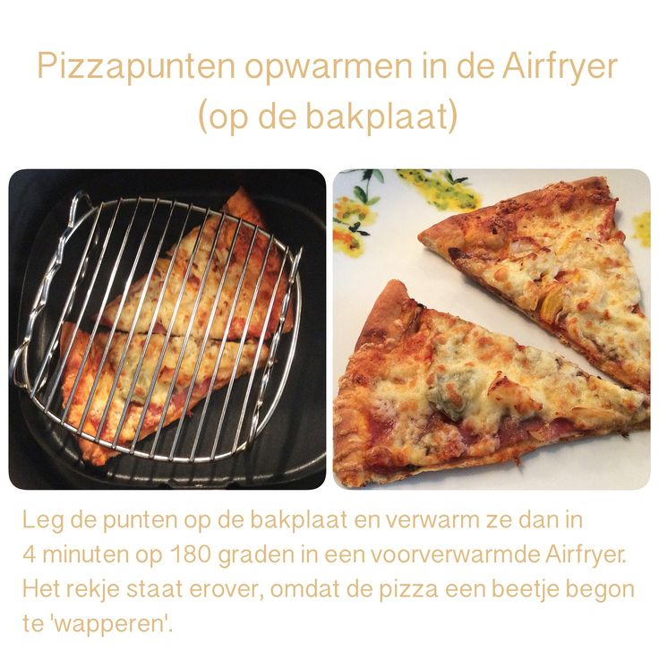 Pizzapunten opwarmen in de Airfryer. 4 minuten, 180 graden. AF