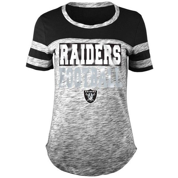5th & Ocean Women's Oakland Raiders Space Dye Foil T-Shirt ($38) ❤ liked on Polyvore featuring tops, t-shirts, black, holiday tees, logo t shirts, logo tee, nfl tees and nfl shirts