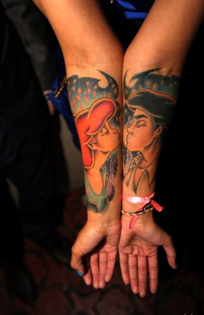 Little Mermaid tattoo #female #tattooTattoo Ideas, Couples Tattoo, Little Mermaids, Disney Tattoo, Disney Couples, Little Mermaid Tattoo, The Little Mermaid, Ink, Disney Movie