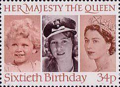 60th Birthday of Queen Elizabeth II 34p Stamp (1986) Queen Elizabeth II in 1928, 1942 and 1952